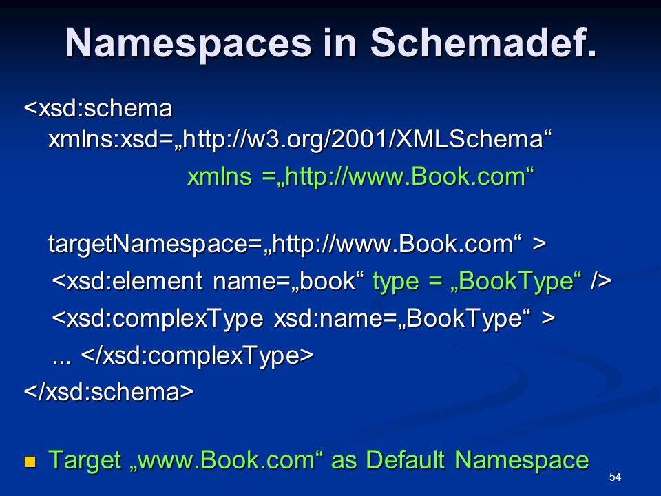 """54 Namespaces in Schemadef. <xsd:schema xmlns:xsd=""""http://w3.org/2001/XMLSchema"""" xmlns =""""http://www.Book.com"""" xmlns =""""http://www.Book.com"""" targetNames"""