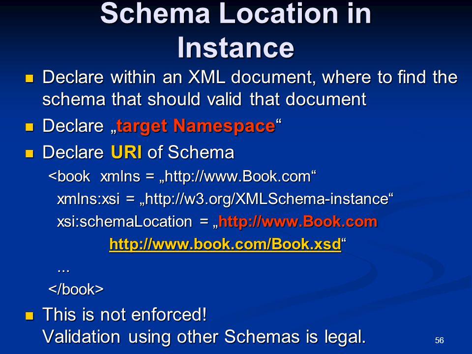 56 Schema Location in Instance Declare within an XML document, where to find the schema that should valid that document Declare within an XML document