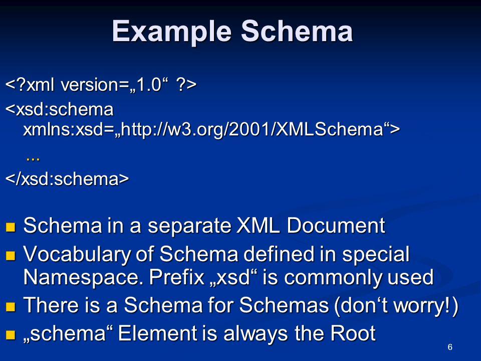 6 Example Schema......</xsd:schema> Schema in a separate XML Document Schema in a separate XML Document Vocabulary of Schema defined in special Namesp