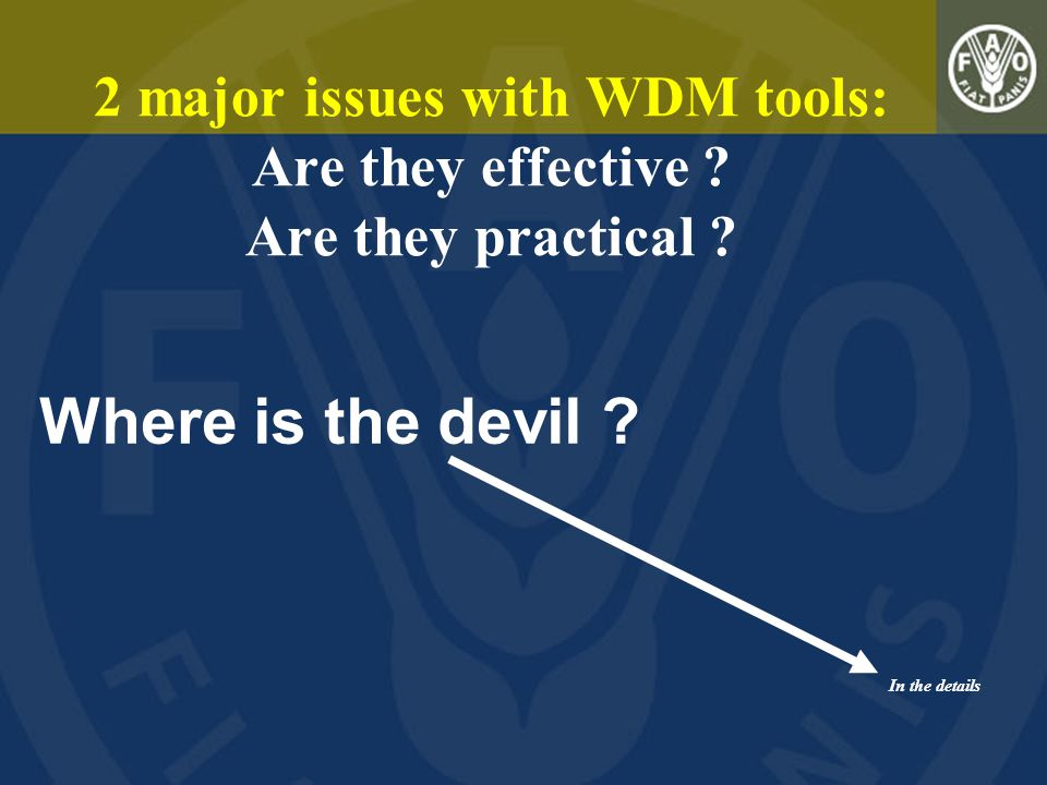 2 major issues with WDM tools: Are they effective ? Are they practical ? In the details Where is the devil ?