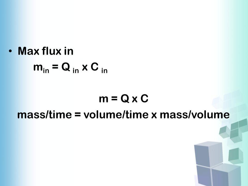 Max flux in m in = Q in x C in m = Q x C mass/time = volume/time x mass/volume