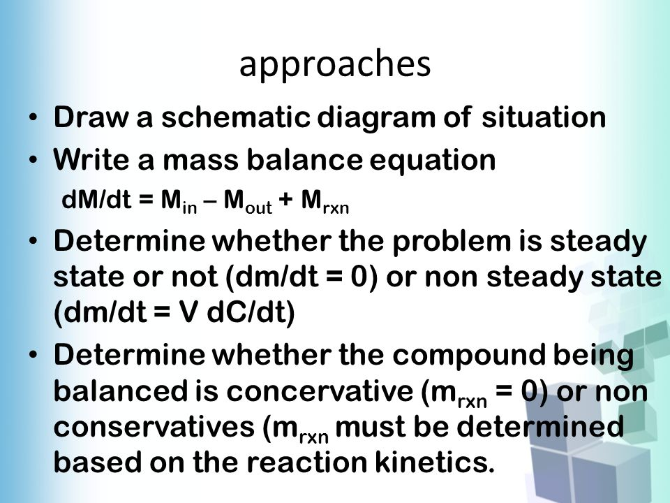 approaches Draw a schematic diagram of situation Write a mass balance equation dM/dt = M in – M out + M rxn Determine whether the problem is steady st