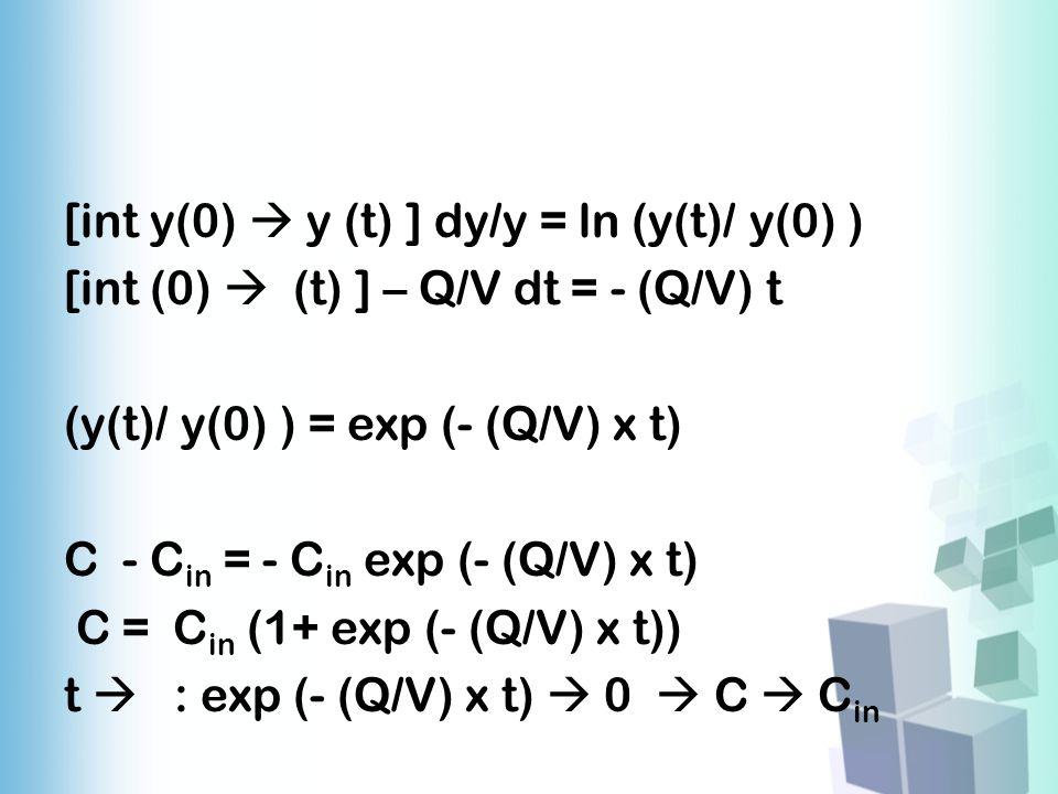 [int y(0)  y (t) ] dy/y = ln (y(t)/ y(0) ) [int (0)  (t) ] – Q/V dt = - (Q/V) t (y(t)/ y(0) ) = exp (- (Q/V) x t) C - C in = - C in exp (- (Q/V) x t