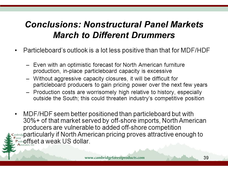 Conclusions: Nonstructural Panel Markets March to Different Drummers Particleboard's outlook is a lot less positive than that for MDF/HDF –Even with an optimistic forecast for North American furniture production, in-place particleboard capacity is excessive –Without aggressive capacity closures, it will be difficult for particleboard producers to gain pricing power over the next few years –Production costs are worrisomely high relative to history, especially outside the South; this could threaten industry's competitive position MDF/HDF seem better positioned than particleboard but with 30%+ of that market served by off-shore imports, North American producers are vulnerable to added off-shore competition particularly if North American pricing proves attractive enough to offset a weak US dollar.