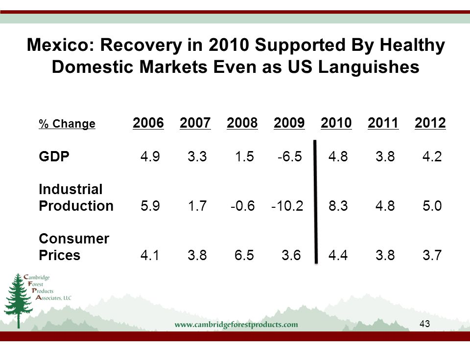 Mexico: Recovery in 2010 Supported By Healthy Domestic Markets Even as US Languishes % Change 2006200720082009201020112012 GDP 4.9 3.3 1.5 -6.5 4.8 3.8 4.2 Industrial Production 5.9 1.7 -0.6 -10.2 8.3 4.8 5.0 Consumer Prices 4.1 3.8 6.5 3.6 4.4 3.8 3.7 43