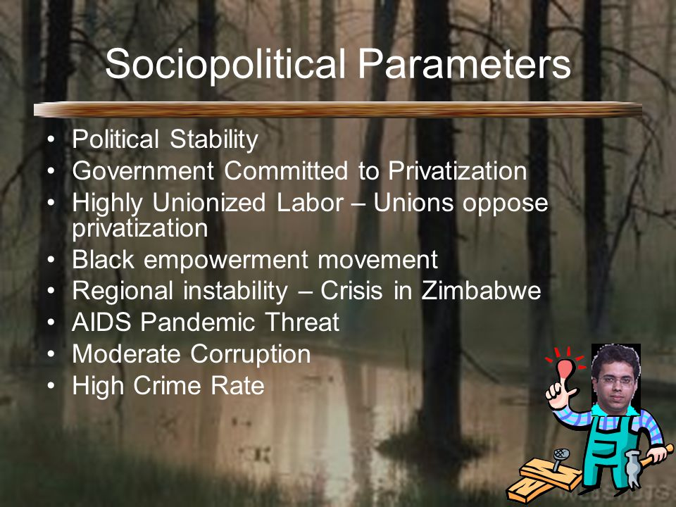 Sociopolitical Parameters Political Stability Government Committed to Privatization Highly Unionized Labor – Unions oppose privatization Black empowerment movement Regional instability – Crisis in Zimbabwe AIDS Pandemic Threat Moderate Corruption High Crime Rate