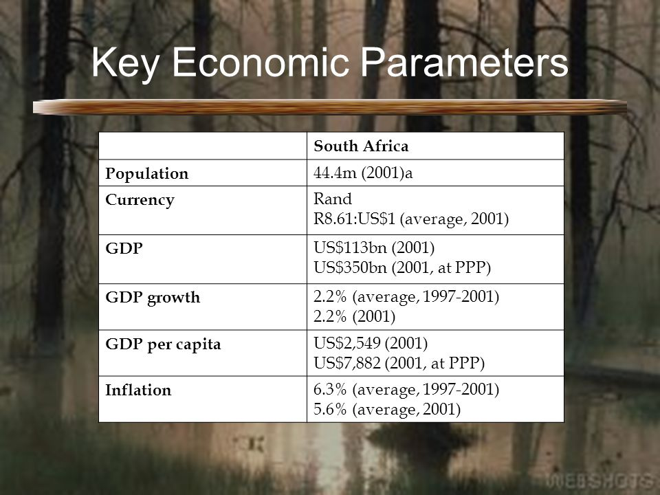 Key Economic Parameters South Africa Population 44.4m (2001)a Currency Rand R8.61:US$1 (average, 2001) GDP US$113bn (2001) US$350bn (2001, at PPP) GDP growth 2.2% (average, 1997-2001) 2.2% (2001) GDP per capita US$2,549 (2001) US$7,882 (2001, at PPP) Inflation 6.3% (average, 1997-2001) 5.6% (average, 2001)