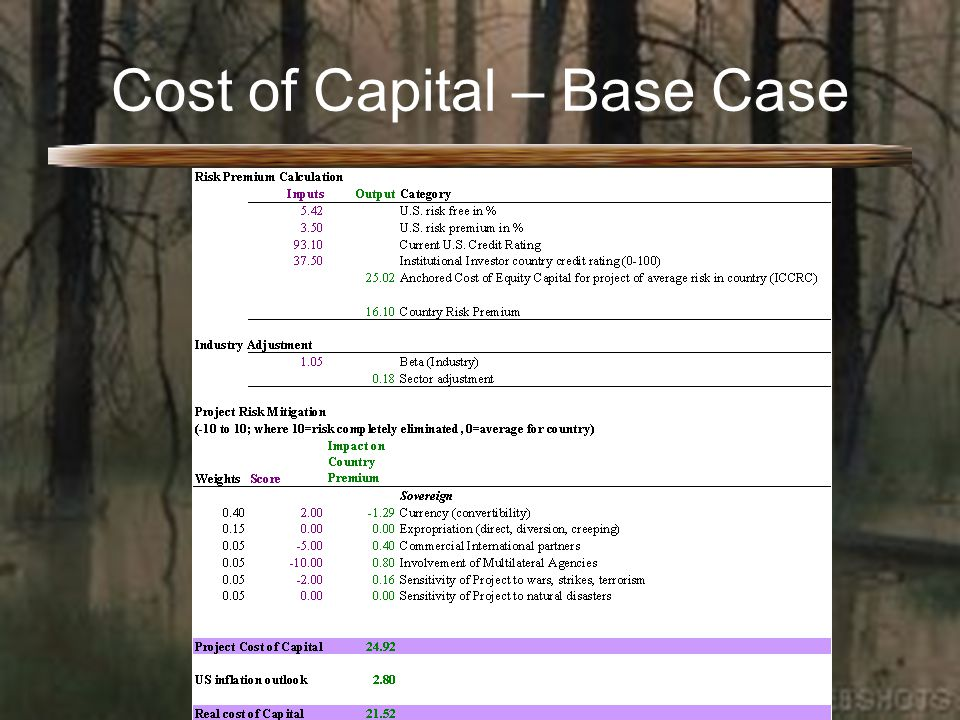 Cost of Capital – Base Case