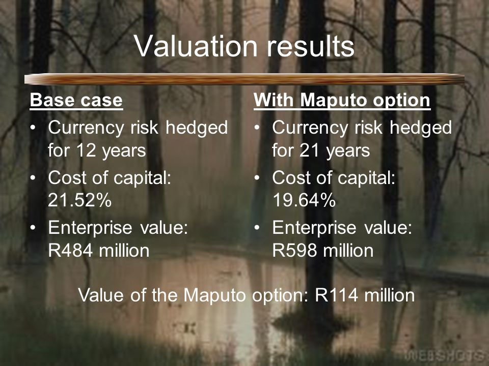 Valuation results Base case Currency risk hedged for 12 years Cost of capital: 21.52% Enterprise value: R484 million With Maputo option Currency risk hedged for 21 years Cost of capital: 19.64% Enterprise value: R598 million Value of the Maputo option: R114 million