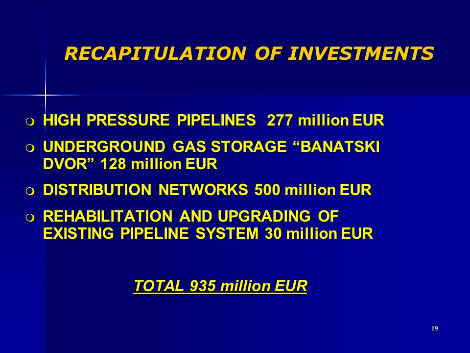 "19 RECAPITULATION OF INVESTMENTS m HIGH PRESSURE PIPELINES 277 million EUR m UNDERGROUND GAS STORAGE ""BANATSKI DVOR"" 128 million EUR m DISTRIBUTION NE"