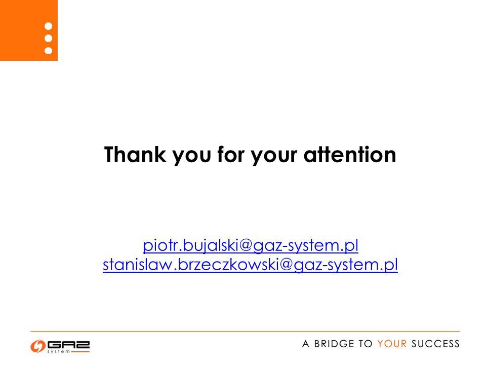 Thank you for your attention piotr.bujalski@gaz-system.pl stanislaw.brzeczkowski@gaz-system.pl piotr.bujalski@gaz-system.pl stanislaw.brzeczkowski@gaz-system.pl