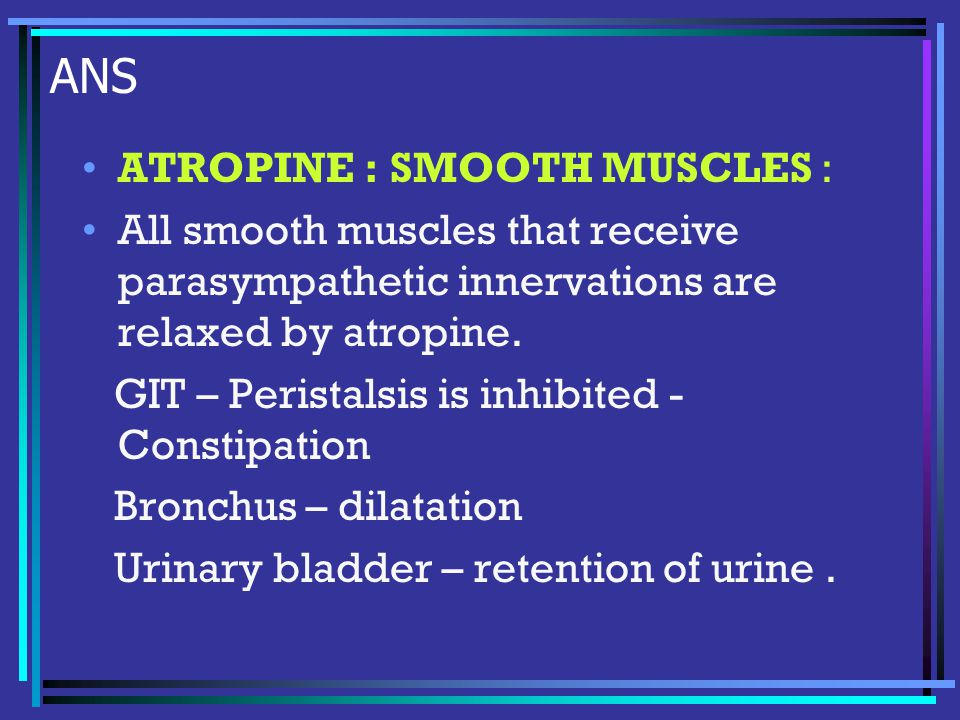 ANS ATROPINE : SMOOTH MUSCLES : All smooth muscles that receive parasympathetic innervations are relaxed by atropine.