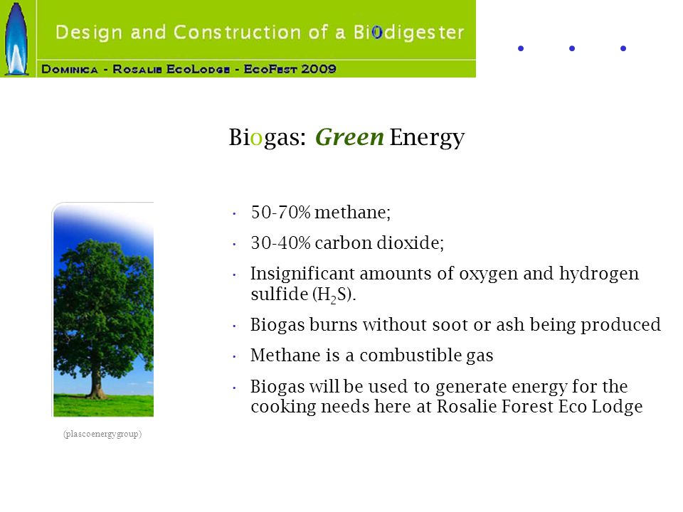 Biogas: Green Energy 50-70% methane; 30-40% carbon dioxide; Insignificant amounts of oxygen and hydrogen sulfide (H 2 S). Biogas burns without soot or