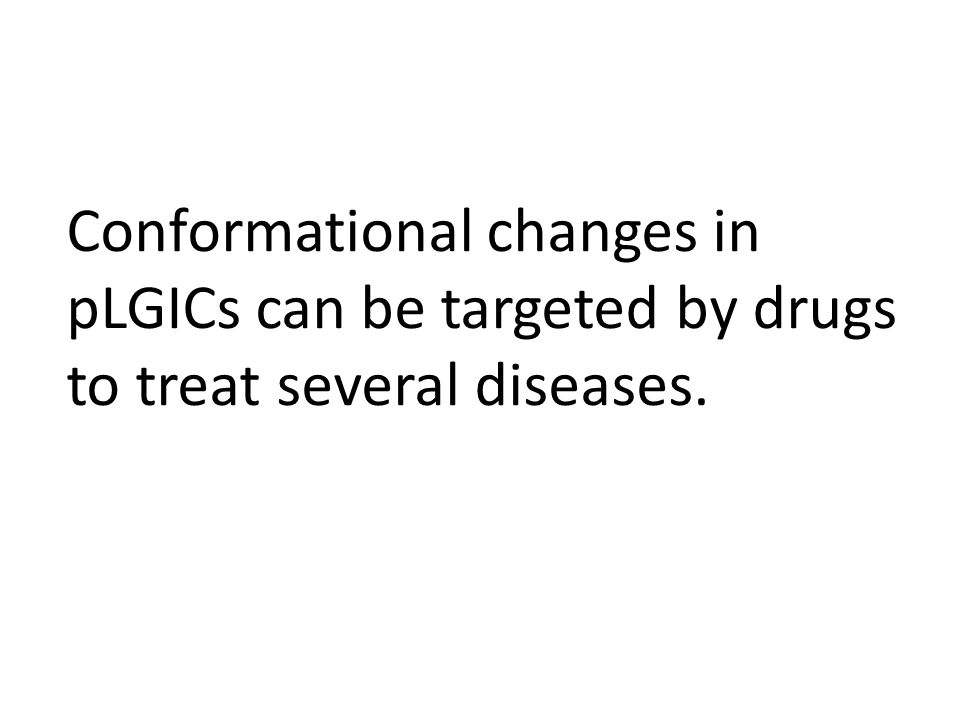 Conformational changes in pLGICs can be targeted by drugs to treat several diseases.