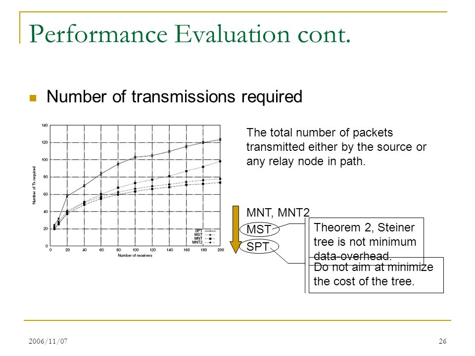 2006/11/0726 Performance Evaluation cont. Number of transmissions required The total number of packets transmitted either by the source or any relay n