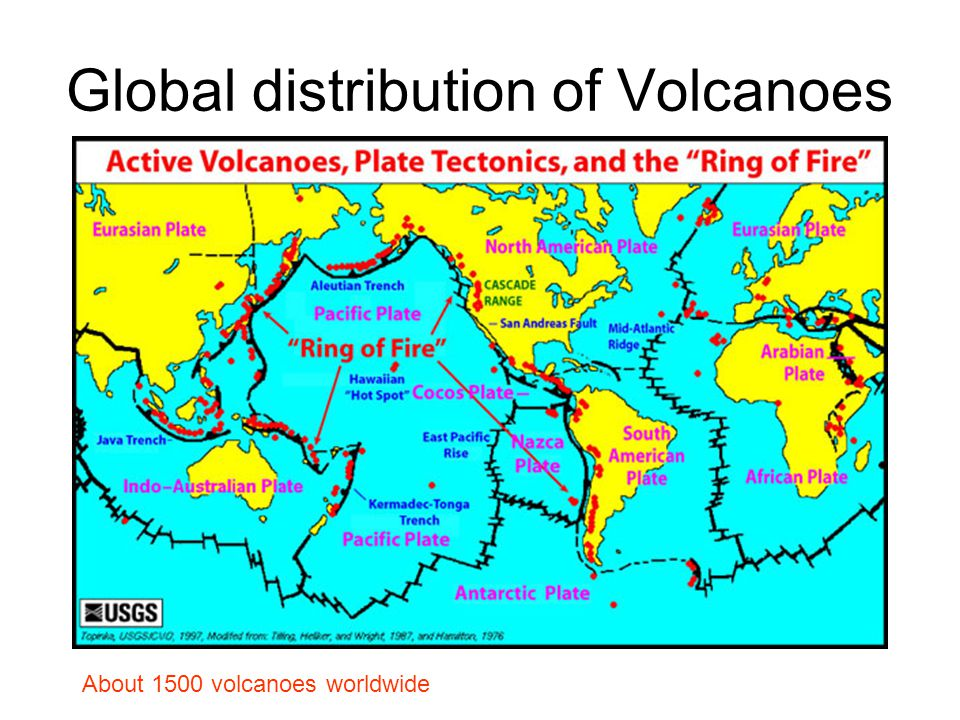 Global distribution of Volcanoes About 1500 volcanoes worldwide