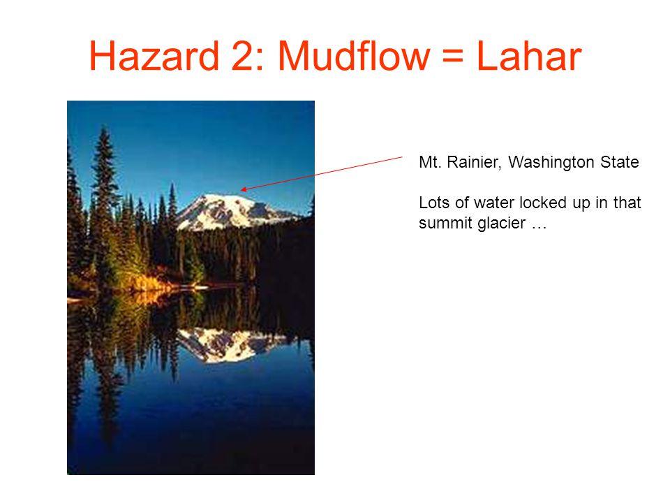Hazard 2: Mudflow = Lahar Mt. Rainier, Washington State Lots of water locked up in that summit glacier …
