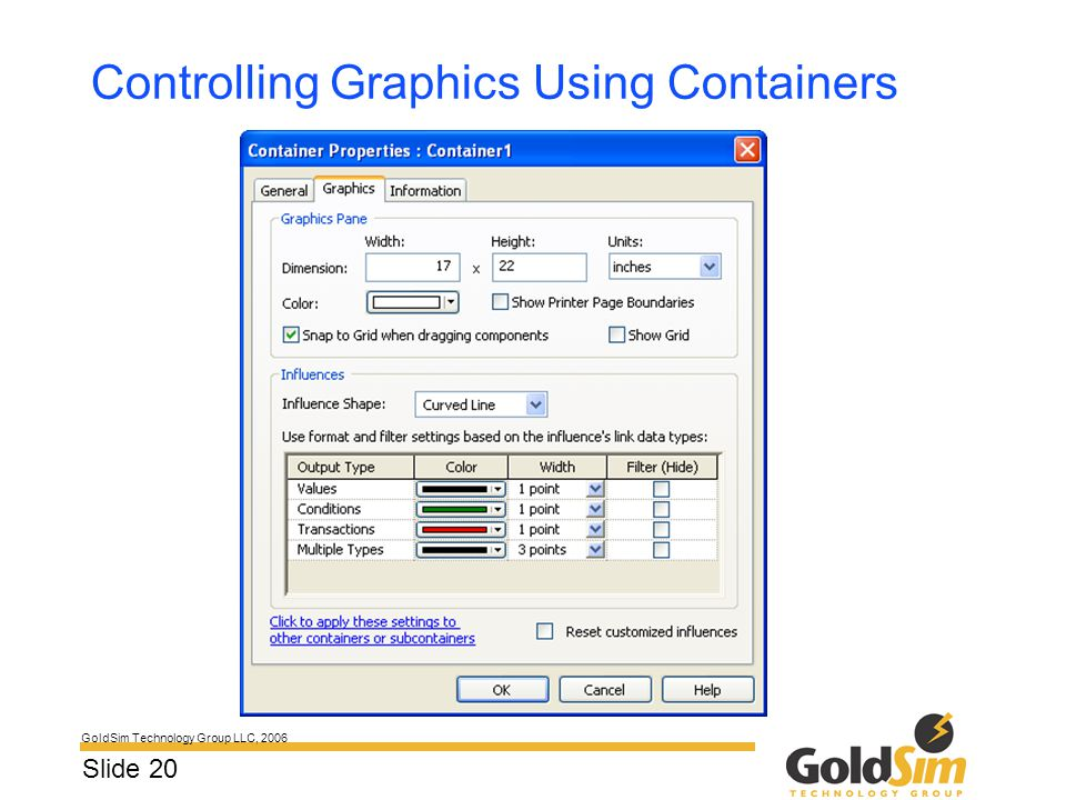 GoldSim Technology Group LLC, 2006 Slide 20 Controlling Graphics Using Containers