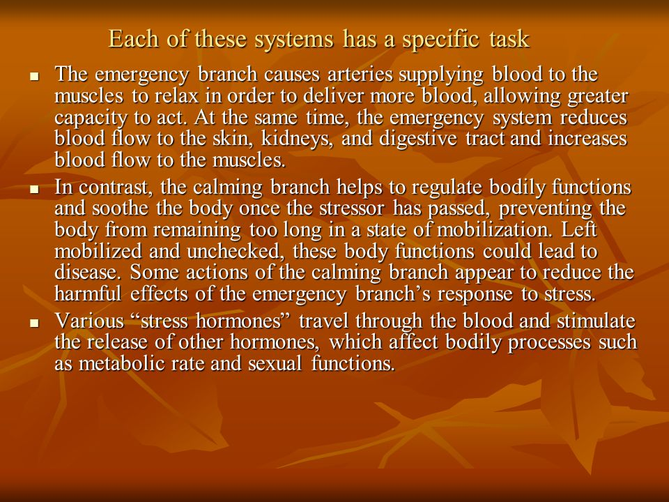 Each of these systems has a specific task The emergency branch causes arteries supplying blood to the muscles to relax in order to deliver more blood, allowing greater capacity to act.