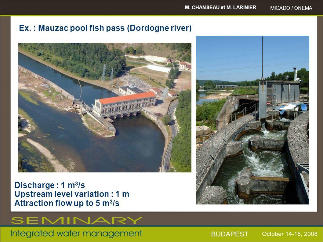 M. CHANSEAU et M. LARINIER MIGADO / ONEMA Ex. : Mauzac pool fish pass (Dordogne river) Discharge : 1 m 3 /s Upstream level variation : 1 m Attraction