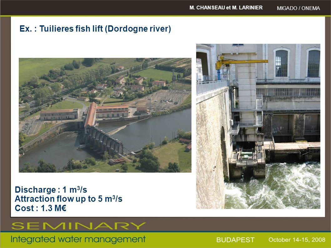 M. CHANSEAU et M. LARINIER MIGADO / ONEMA Ex. : Tuilieres fish lift (Dordogne river) Discharge : 1 m 3 /s Attraction flow up to 5 m 3 /s Cost : 1.3 M€
