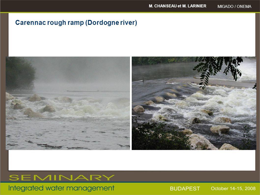 M. CHANSEAU et M. LARINIER MIGADO / ONEMA Carennac rough ramp (Dordogne river)