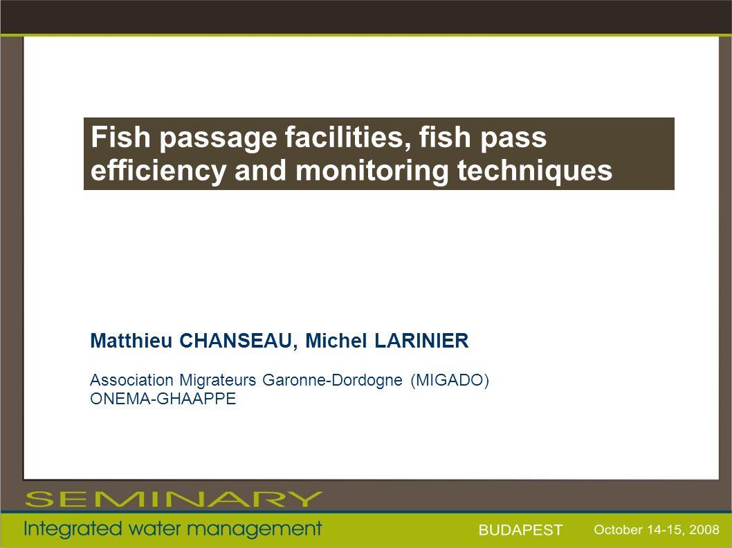 Matthieu CHANSEAU, Michel LARINIER Association Migrateurs Garonne-Dordogne (MIGADO) ONEMA-GHAAPPE Fish passage facilities, fish pass efficiency and mo