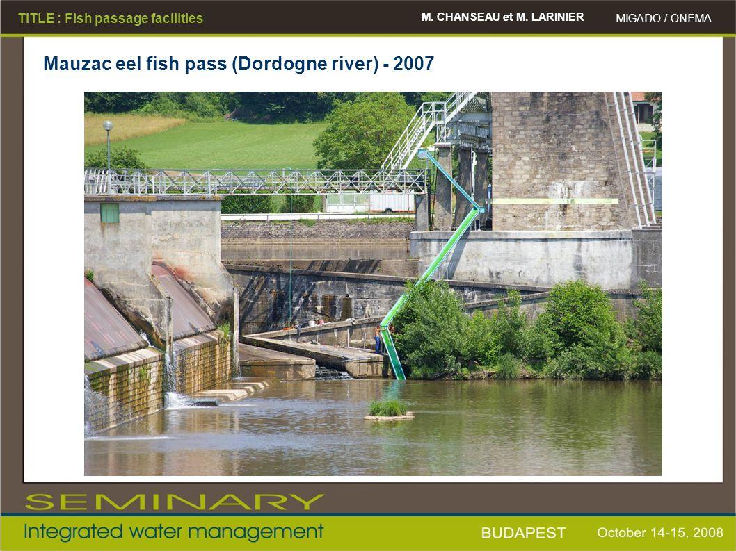 M. CHANSEAU et M. LARINIER MIGADO / ONEMA TITLE : Fish passage facilities Mauzac eel fish pass (Dordogne river) - 2007