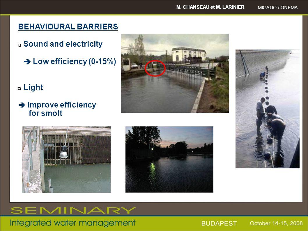 M. CHANSEAU et M. LARINIER MIGADO / ONEMA BEHAVIOURAL BARRIERS  Sound and electricity  Low efficiency (0-15%)  Light  Improve efficiency for smolt
