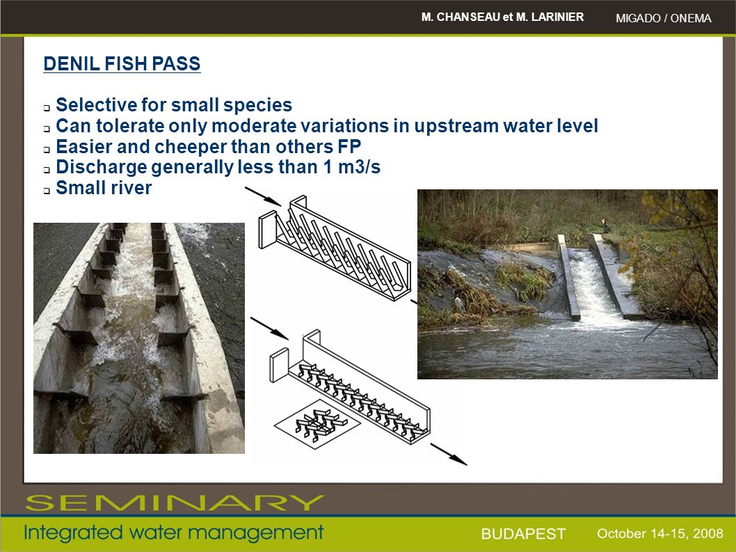 M. CHANSEAU et M. LARINIER MIGADO / ONEMA DENIL FISH PASS  Selective for small species  Can tolerate only moderate variations in upstream water leve