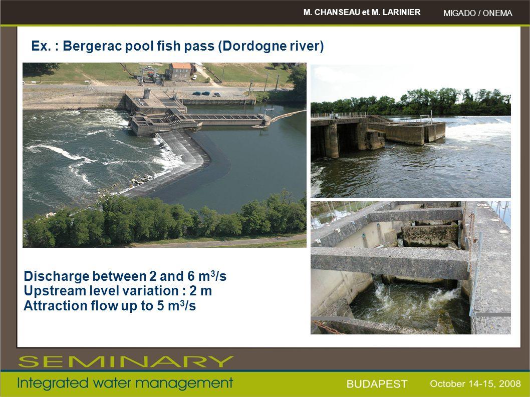 M. CHANSEAU et M. LARINIER MIGADO / ONEMA Ex. : Bergerac pool fish pass (Dordogne river) Discharge between 2 and 6 m 3 /s Upstream level variation : 2
