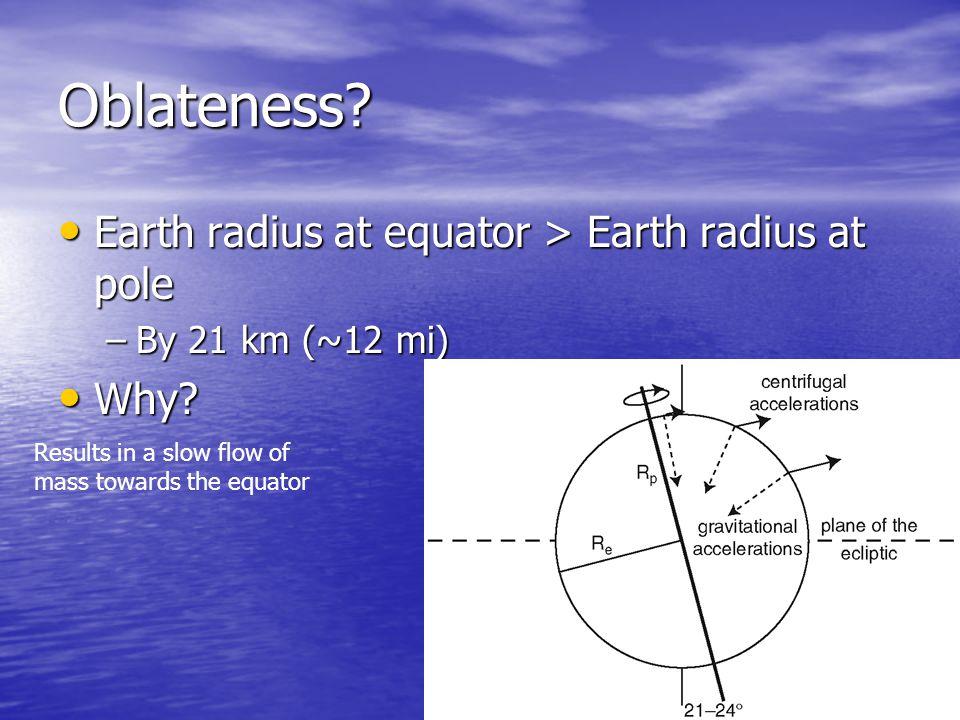 Earth radius at equator > Earth radius at pole Earth radius at equator > Earth radius at pole –By 21 km (~12 mi) Why.