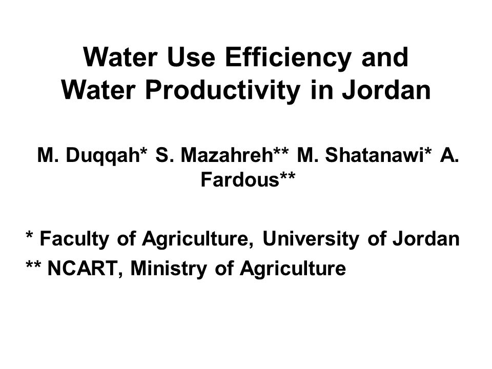 Water Efficiency and Productivity Water Efficiency One of the most extensively used terms to evaluate the performance of an irrigation system is water efficiency .