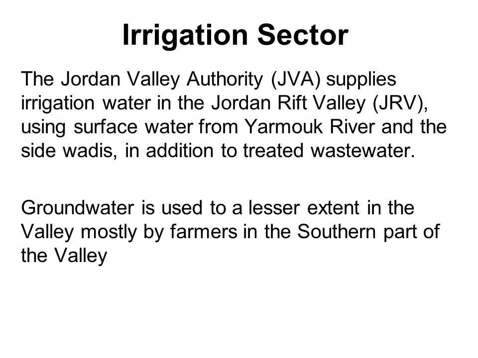 Irrigation Sector In the uplands, irrigation water is pumped from licensed or unlicensed private wells, tapping both renewable and non- renewable groundwater, and to a lesser extent form surface water.