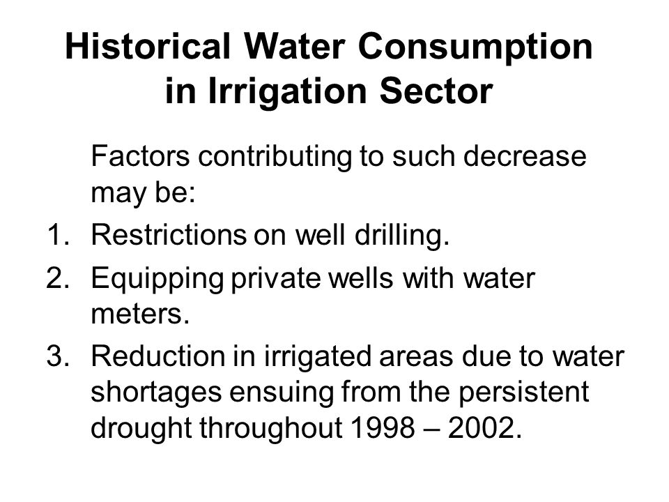 Historical Water Consumption in Irrigation Sector The use of surface water for irrigation in Jordan has declined in both absolute and relative terms from 249 MCM (42%) of total irrigation use in 1996, to 157 MCM (31%) in 2002.