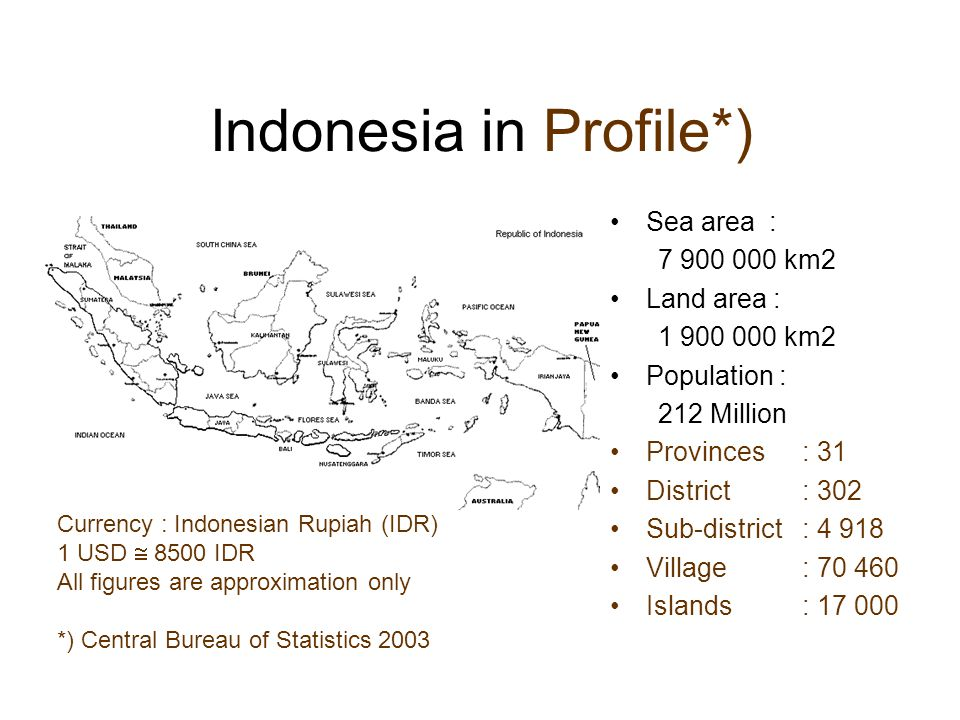 Energy Reserve in Indonesia Fossil Fuel Oil *) :5.00Billion Barrels (0.5%) Gas *) :2.05Trillion m3 (1.4%) Coal *) :5.22Billion Ton (0.5%) Renewable Hydro:75.0GW Biomass:470Million GJ/year Solar Energy:5.0kWh/m2.day Wind & Wave:Potential along South Coast of Java *) Proven Reserve as of 2000; percentage to the world reserve.