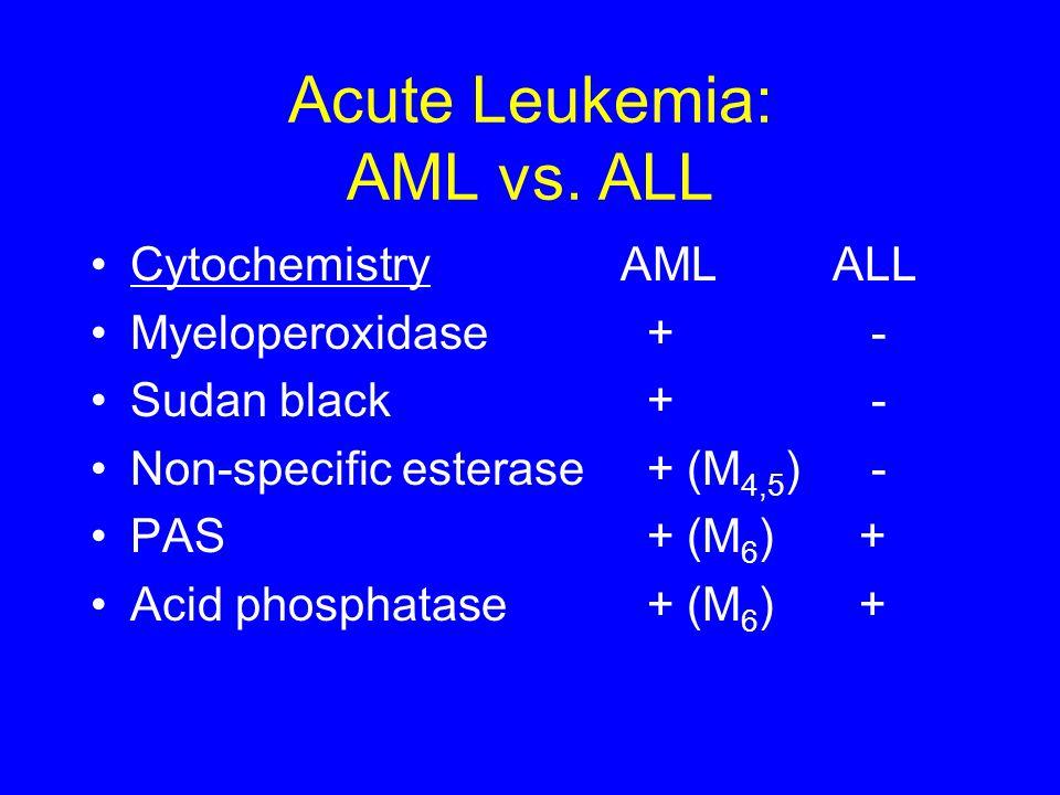Acute Leukemia: AML vs. ALL CytochemistryAMLALL Myeloperoxidase + - Sudan black + - Non-specific esterase + (M 4,5 ) - PAS + (M 6 ) + Acid phosphatase