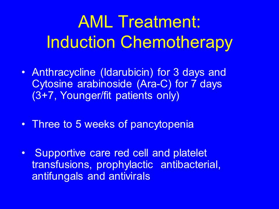 AML Treatment: Induction Chemotherapy Anthracycline (Idarubicin) for 3 days and Cytosine arabinoside (Ara-C) for 7 days (3+7, Younger/fit patients onl