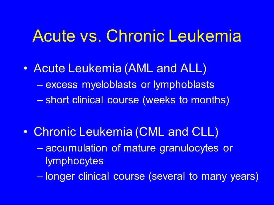 Acute vs. Chronic Leukemia Acute Leukemia (AML and ALL) –excess myeloblasts or lymphoblasts –short clinical course (weeks to months) Chronic Leukemia