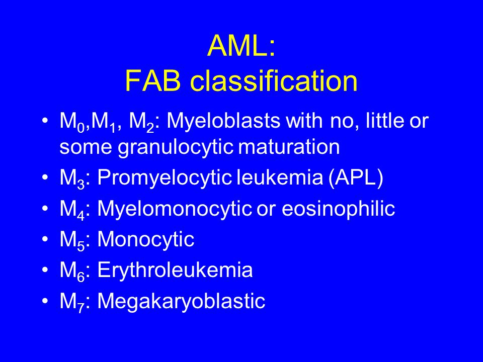 AML: FAB classification M 0,M 1, M 2 : Myeloblasts with no, little or some granulocytic maturation M 3 : Promyelocytic leukemia (APL) M 4 : Myelomonoc