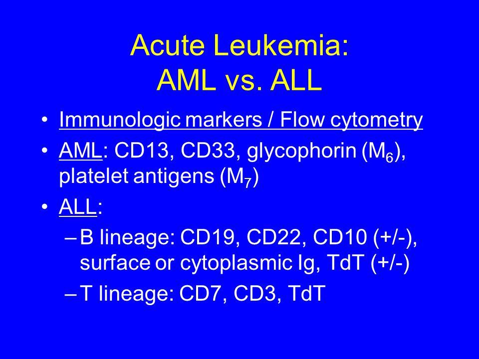 Acute Leukemia: AML vs. ALL Immunologic markers / Flow cytometry AML: CD13, CD33, glycophorin (M 6 ), platelet antigens (M 7 ) ALL: –B lineage: CD19,