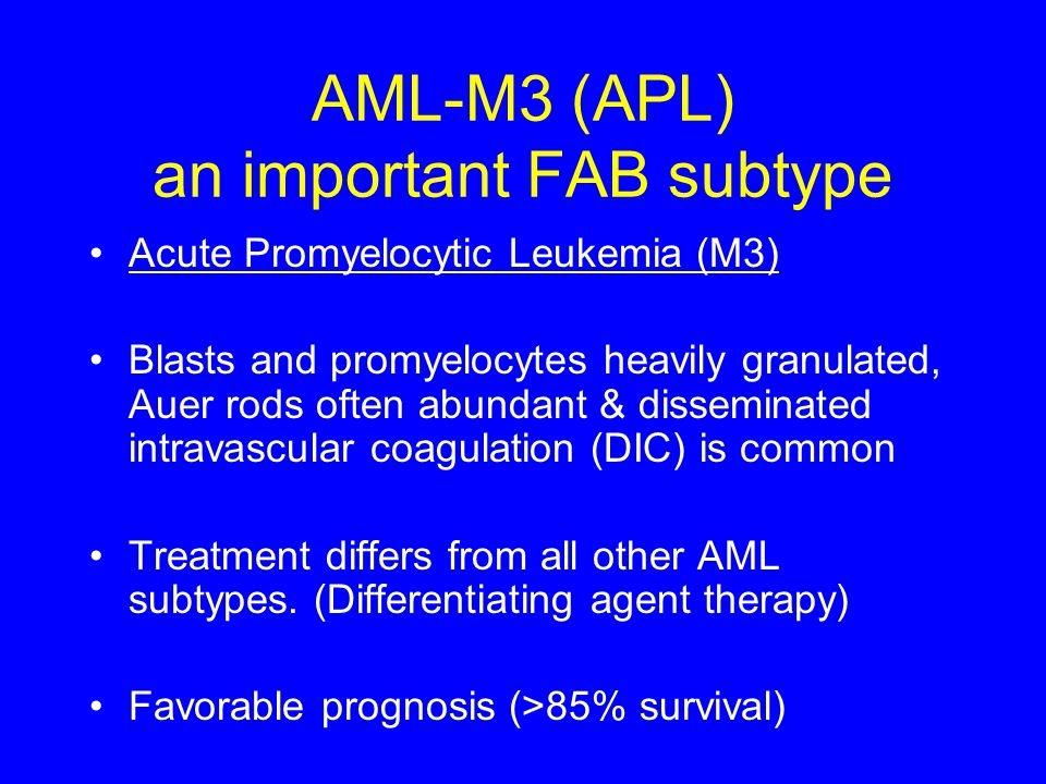 AML-M3 (APL) an important FAB subtype Acute Promyelocytic Leukemia (M3) Blasts and promyelocytes heavily granulated, Auer rods often abundant & dissem