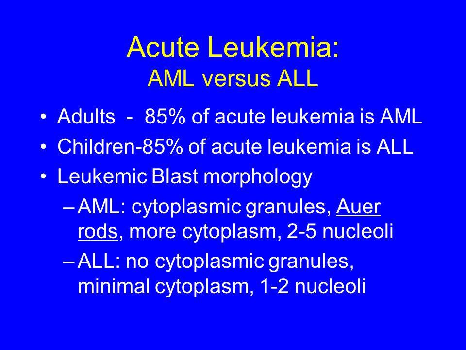 Acute Leukemia: AML versus ALL Adults - 85% of acute leukemia is AML Children-85% of acute leukemia is ALL Leukemic Blast morphology –AML: cytoplasmic