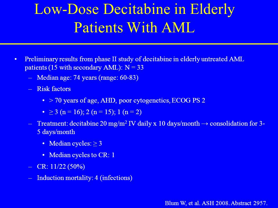 Low-Dose Decitabine in Elderly Patients With AML Preliminary results from phase II study of decitabine in elderly untreated AML patients (15 with seco