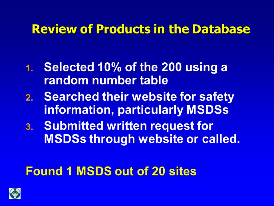 Review of Products in the Database Review of Products in the Database 1.