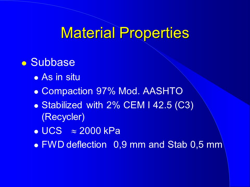 Subbase As in situ Compaction 97% Mod.
