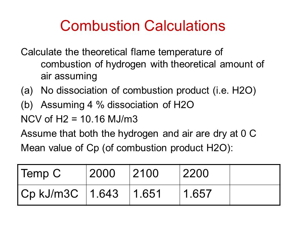 Combustion Calculations Calculate the theoretical flame temperature of combustion of hydrogen with theoretical amount of air assuming (a)No dissociati