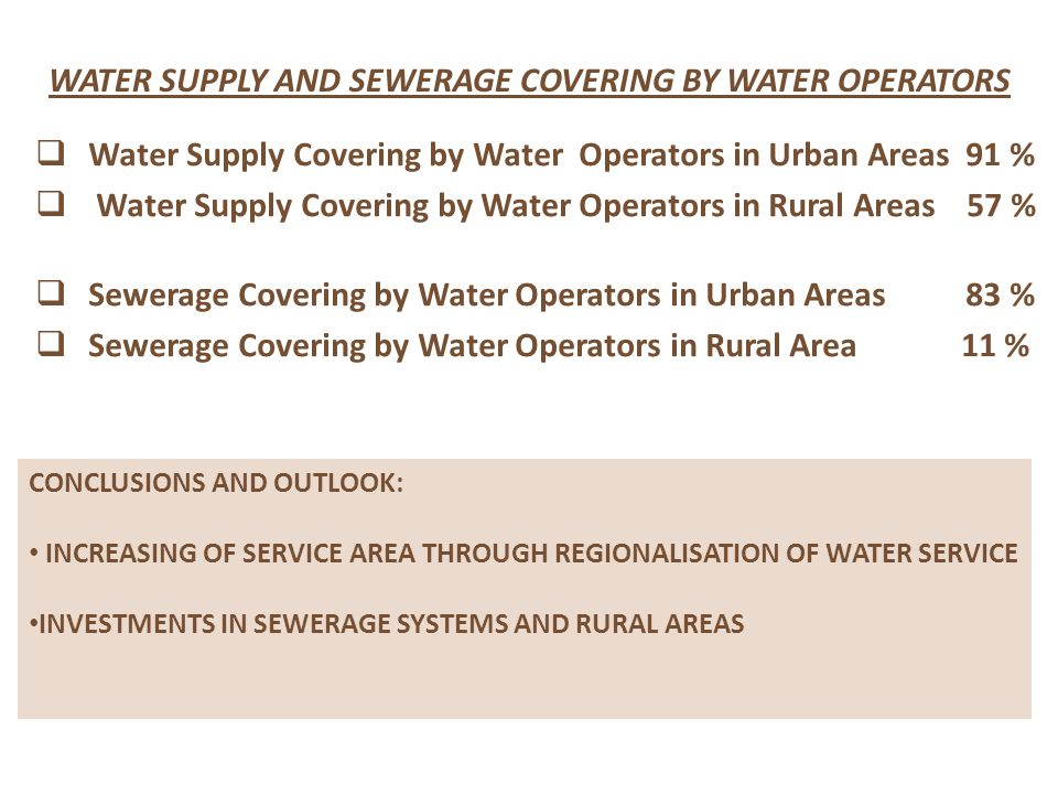  Water Supply Covering by Water Operators in Urban Areas 91 %  Water Supply Covering by Water Operators in Rural Areas 57 %  Sewerage Covering by Water Operators in Urban Areas 83 %  Sewerage Covering by Water Operators in Rural Area 11 % WATER SUPPLY AND SEWERAGE COVERING BY WATER OPERATORS CONCLUSIONS AND OUTLOOK: INCREASING OF SERVICE AREA THROUGH REGIONALISATION OF WATER SERVICE INVESTMENTS IN SEWERAGE SYSTEMS AND RURAL AREAS
