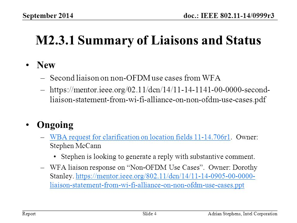 doc.: IEEE 802.11-14/0999r3 Report M2.3.1 Summary of Liaisons and Status New –Second liaison on non-OFDM use cases from WFA –https://mentor.ieee.org/02.11/dcn/14/11-14-1141-00-0000-second- liaison-statement-from-wi-fi-alliance-on-non-ofdm-use-cases.pdf Ongoing –WBA request for clarification on location fields 11-14.706r1.