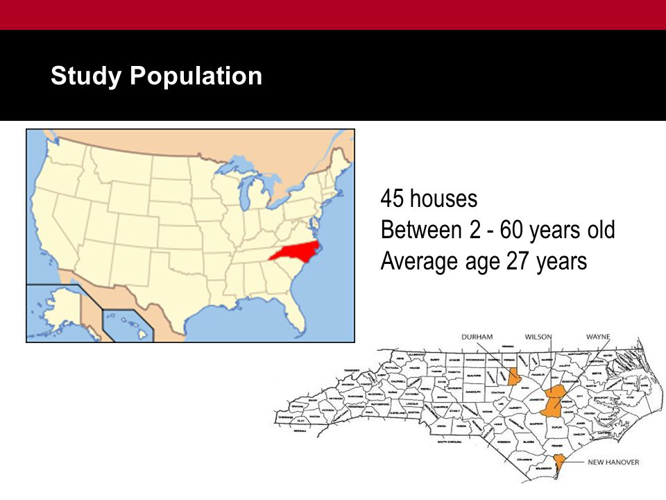Study Population 45 houses Between 2 - 60 years old Average age 27 years